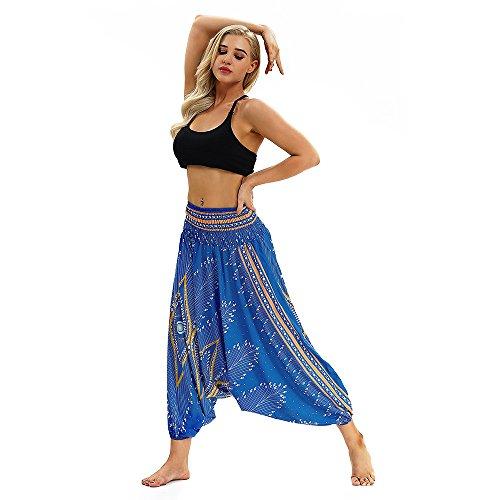 IFOUNDYOU Damen Haremshose Beiläufig Lose Breites Bein Hippie Hose - Hohe Taille BohemienStil Tanzen Yoga Pilates Hosen