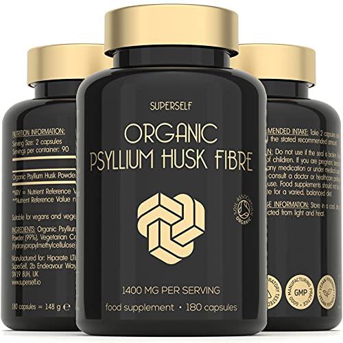 Organic Psyllium Husks - Fibre Supplement 1400mg per Serving - 180 Capsules...