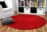 interiortrend Mona - Alfombra Pelo Corto Redonda - Velour - Rojo - 4 tamaños