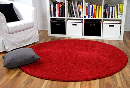 interiortrend Mona - Tapis à Poils Longs Rond - Velours - Rouge - 4 Tailles Disponibles