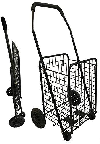 Bo Time - Carro de la Compra de Metal, 4 Ruedas, Plegable, 43l, Color Negro sin Bolsa