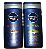 Nivea MEN Shower Gel Twin Set SPORT & ENERGY Body, Face & Hair Wash 2 x 250ml