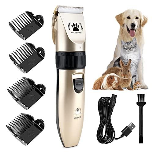 ICHECKEY Cortapelos para Perros, Kit de Aseo para Perros Cortapelos Eléctricos para Mascotas de Bajo Ruido Cortapelos Profesionales Recargables Inalámbricos para Perros Gatos Mascotas