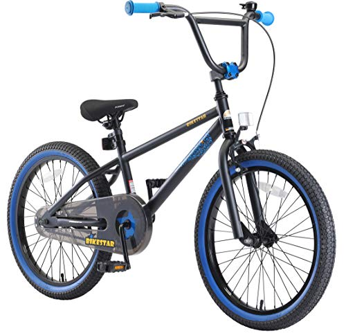 BIKESTAR Bicicletta Bambini 6-7 Anni da 20 Pollici | Bici per Bambino et Bambina BMX con Freno a retropedale et Freno a Mano | Nero & Blu