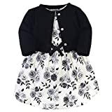 Touched by Nature Baby Girls' Organic Cotton Dress and Cardigan, Black Floral, 2-Toddler