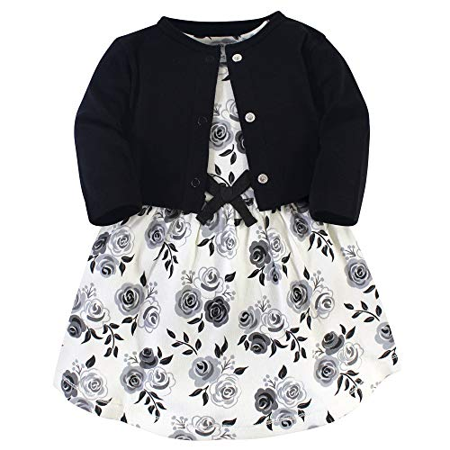 Touched by Nature Baby Girls' Organic Cotton Dress and Cardigan, Black Floral, 12-18 Months