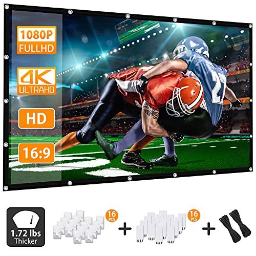 Beamer Leinwand HD 16:9 270x153cm(120 Zoll) Projektion Leinwand - Keine Falte Tragbare Tasche Projektionswand Unterstützung Doppelseitigen Projektion für Heimkino und Freiluftkino mit 16 Haken