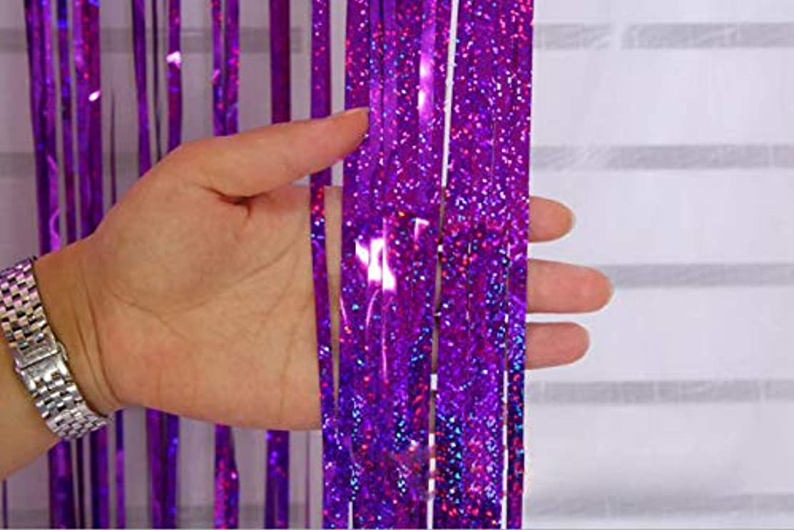 Fashion lab Metallic Tinsel Foil Fringe Curtains for Party Photo Backdrop Wedding Decor and Gold Confetti Balloons