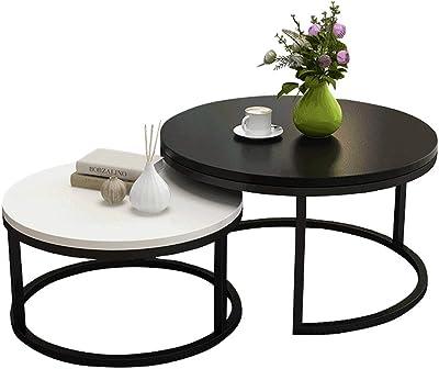 Tavoli su piedistallo per cucina Small Spaces Set di 2 tavoli da incastrare per soggiorno moderno Divani e tavolini in legno
