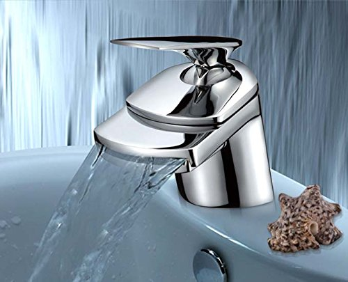 Wasserfall Armatur Waschbecken Bad Chrom Wasserhahn Waschtisch Einhebelmischer Waschtischarmatur Einhandmischer Badarmatur Waschbeckenarmatur