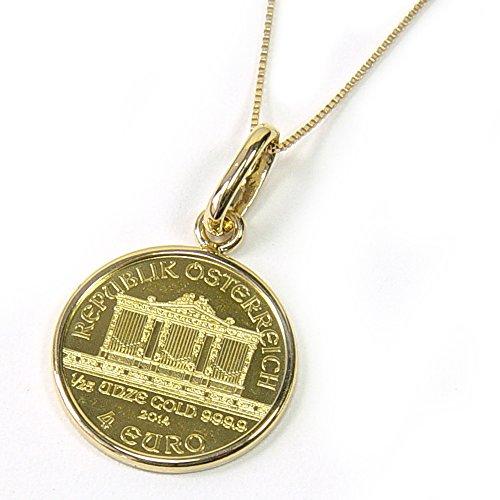 [あなたと私の宝石箱] 純金オーストリアハーモニー金貨 (1/25oz) コイン ペンダント トップK24金・K10Gチェーン付 【ギフトラッピング済み】