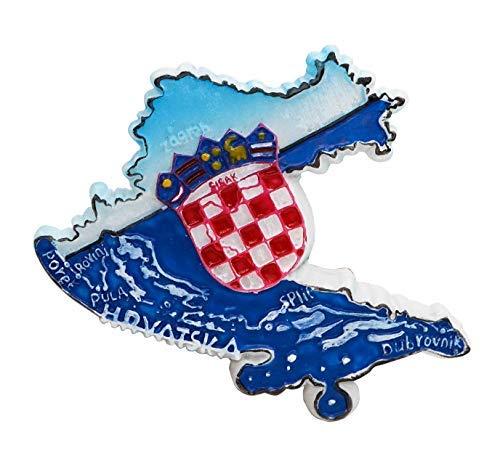 zamonji 3D Harz Kühlschrankmagnet. Welt Tourismus Souvenirs Home Dekoration - Republik Kroatien (Übersichtskarte)