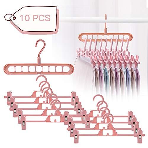 10 perchas con fuertes clips antideslizantes ajustables, ahorran espacio, organizador de perchas estable, gancho mágico para pantalones, calcetines y faldas, color rosa