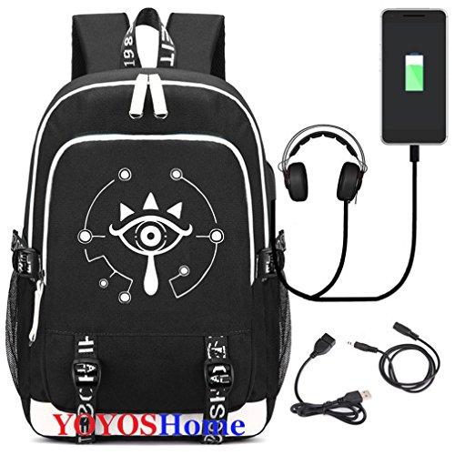 YOYOSHome Luminous Japanese Anime Cosplay Daypack Bookbag Laptop Tasche Rucksack Schultasche mit USB-Ladeanschluss (The Legend of Zelda 1)