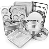 VALUE SET - E-far 12-piece bakeware set includes the most popular baking pans every home cook needs: Two 8-inch round cake pans, 12.4x9.7-inch rectangle pan with lid, 12.4x9.7-inch cookie sheet, 10.5 x 8.3 baking sheet, 8x8-inch square pan with lid, ...