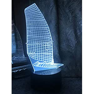 JYNHOOR 3D Night Light (Sailboat), 7 Colors Touch Table Table Lamp, 3D Optical Illusion Lights with Acrylic Flat & ABS Base & USB Cabler, as Home Decor and A Best Gift