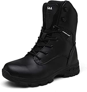 Bititger - Stivali outdoor da uomo, impermeabili, in pelle, con cerniera, stivali militari, Nero (Q3 nero.), 40 EU