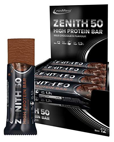 IronMaxx Zenith 50 XL High Protein Bar - Schokolade - 12er Pack (12x 100g Protein-Riegel) - Low Carb Eiweiß-Riegel - High Protein 50% Eiweiß - Designed in Germany
