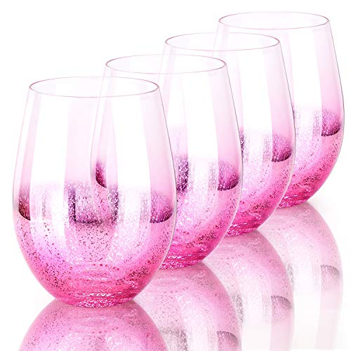 drinking glass for wine beers Pink Drinking Glasses, Beasea 18.6 oz 4pcs Beverage Wine Glass Shiny Cocktail Glasses Beer Glasses Beverage Tumbler for Water Juice Beer Wine