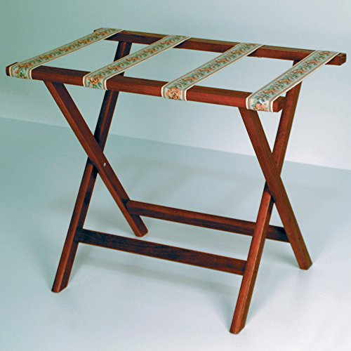 Wooden Mallet Deluxe Straight Leg Luggage Rack,Tapestry Straps, 20' H x 23.75' W x 15.5' D, Mahogany