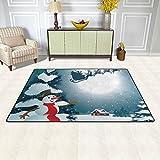 Joe-shop Muñeco de Nieve árboles de Navidad alfombras de área de la Luna alfombras de Piso Alfombra de Corredor para Sala de Estar Dormitorio Entrada 60x39 Pulgadas / 150x100cm