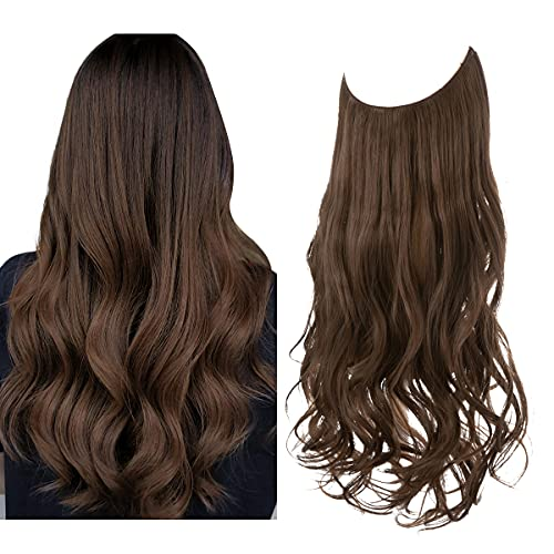 Short Hair Extension Halo Adjustable Secret Wire Headband Wavy Curly Synthetic Hairpiece 14 Inch 3.7 Oz for Women Heat...