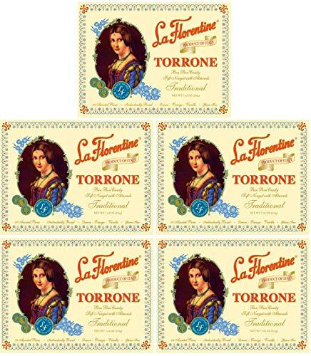 (Pack of 5) La Florentine Torrone Italian Soft Almond Nougat Candy, 18 pc Assortment Each Box