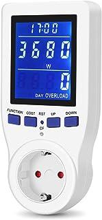 Medidor de Consumo de Energía, Medidor de Corriente de Potencia Eléctrica, Monitor Contador de Electricidad con Pantalla LCD Retroiluminada, 3680W, 16A, con Protección de Sobrecarga