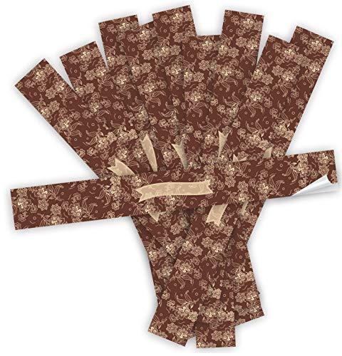Logbuch-Verlag 25 pegatinas largas de 5 x 42 cm para escribir – XXL etiquetas de regalo rojo beige con espacio para nombre para cajas de regalo