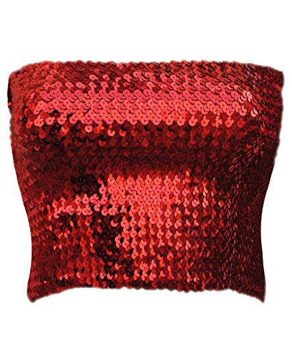 Alivila.Y Fashion Sparkling Sequins Stretch Party Tube Top A11-Red