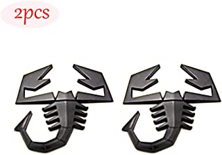 CARRUN 2 PCS 3D Scorpion Emblem Badge Car Side/Rear/Front Decorations Metal Sticker Decals Logo (Black)