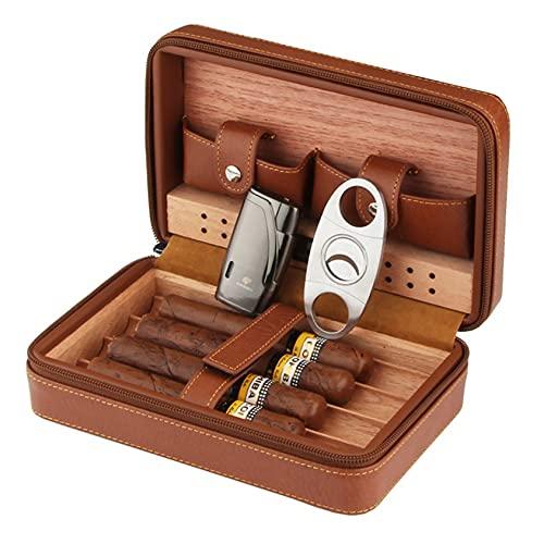 QHYY HUMIRO por Portable Set CUCAN HUMIRO Herramienta Caja de Cuero de Tres Piezas Caja de cigarro Conjunto de Fumar (Color : Brown)