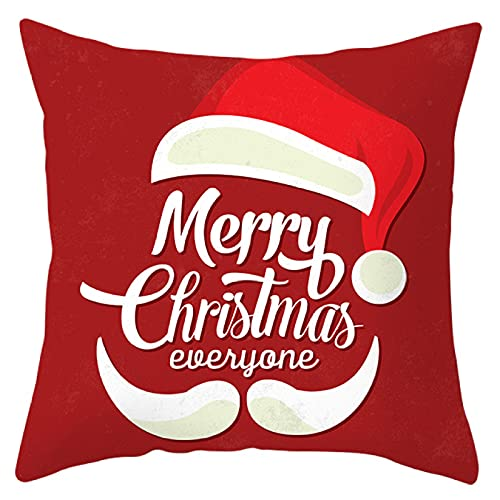 MissW Santa Claus Elk Snowflake Series Funda De Almohada Poliéster Funda De Cojín para Sofá Sin Núcleo Cojín para Coche