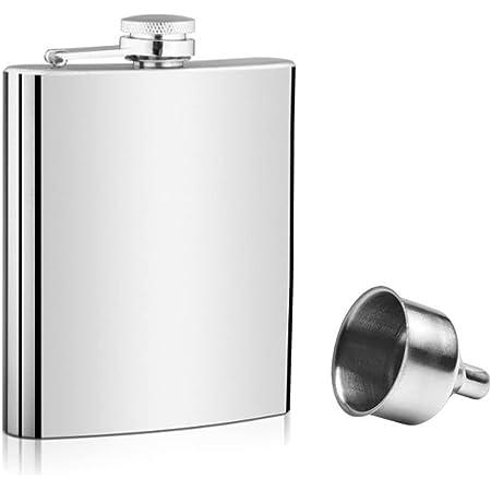 voocye スキットル ヒップ フラスコ 8oz 220ml ステンレス製 錆びない ウイスキー 清酒 ボトル 携帯用 超軽便利