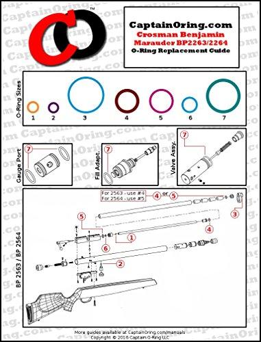 Crosman Benjamin Marauder BP2563 / BP2564 .25 Air Rifle Full 2X Color Coded Captain O-Ring Rebuild Kit