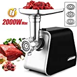 Electric Meat Grinder, Meat Mincer with 3 Grinding Plates and Sausage Stuffing Tubes for Home Use...