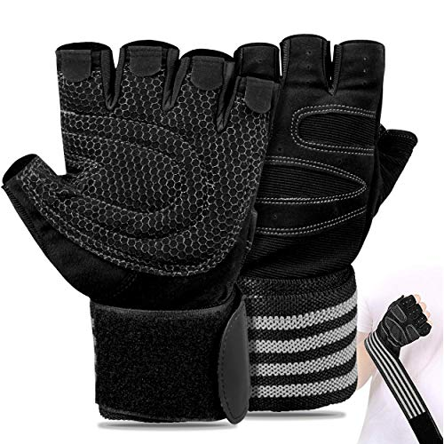 FITSY® Weight Lifting Gloves with Wrist Support Strap Unisex Gym Gloves for Workouts, Gym, Weight Lifting and Training, Crossfit and Fitness Training/Gym Gloves for Men and Women - Large