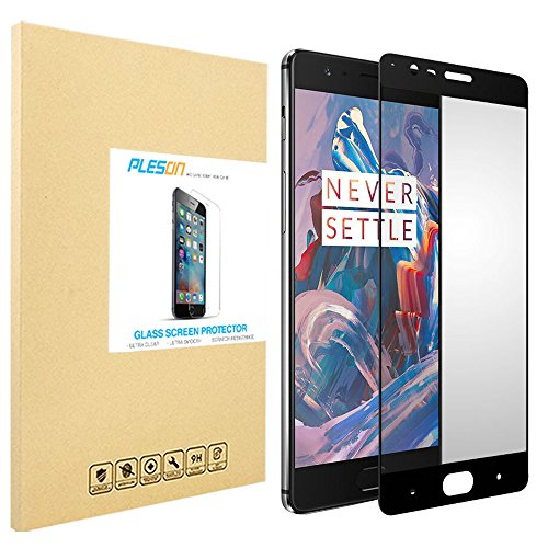 OnePlus 3 Screen Protector, PLESON [Full Coverage] OnePlus 3 Tempered Glass Screen Protector, [Edge to Edge] [Case Friendly] 9H/Bubble Free, Glass Screen Protector for OnePlus 3 –