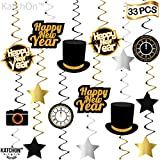 Happy New Year Hanging Swirls – Pack of 33 | New Years Eve Party Supplies 2020 | New Year Party Decorations 2020 | Great for New Years Party Decoration 2020 | Hollywood Oscar NYE Decorations 2020