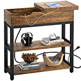 Aheaplus End Table with Charging Station, Sofa Table Narrow Flip Top with USB Ports &Outlets for Small Space, Side Table with Storage Shelves, Nightstand with Metal Frame for Living Room, Rustic Brown