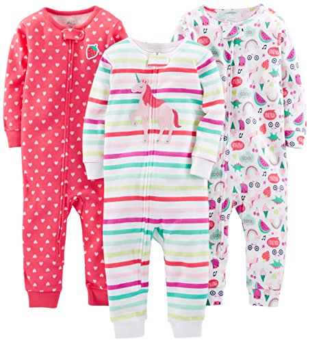 Simple Joys by Carter's Baby Girls' Toddler 3-Pack Snug Fit Footless Cotton Pajamas, Rainbow,Strawberry,Multistripe Unicorn, 2T