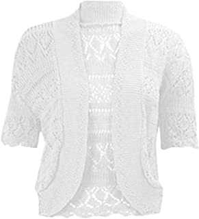 Womens Party Wear Crochet Knitted Crop Top Ladies Fancy Bolero Shrug Cardigan Small/4XL