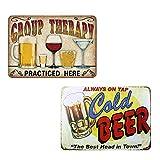 Dulau 2 Piezas Vendimia Cartel de Metálica Placa de la Pared Póster, Cartel de Metal Retro Beer, Decoraciones de Pared de Hierro para Café Bar Pub Casa Cerveza (20 x 30 cm)