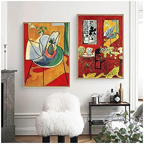 kakyd Flores De Vino Tinto Francia Henri Matisse Fauvismo Pinturas En LienzoParedVintageDecoración del Hogar Regalo Familiar-40X60Cmx2 Sin Marco