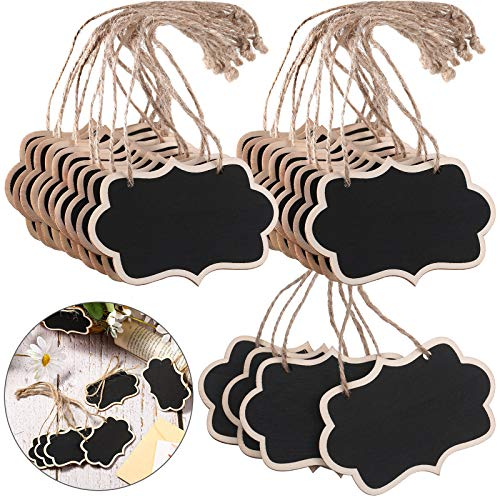 24 Pieces Black Chalkboard Tags Hanging Wooden Chalkboard Signs 3.35 x 2.36 Inch Mini Wood Chalkboard Labels Hanging Blackboard Tags Massage Board Signs