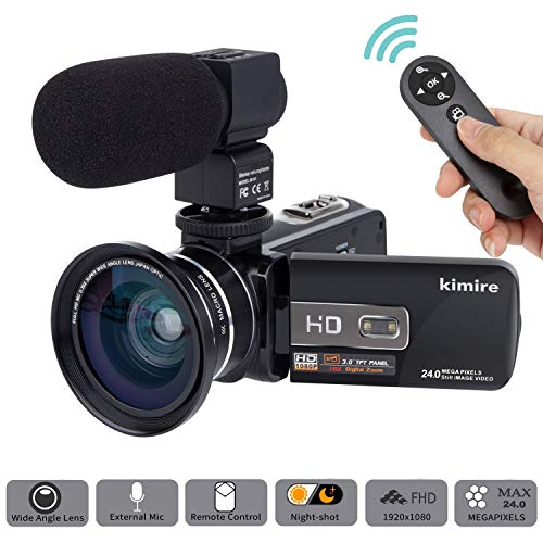 Camera Camcorder Kimire HD 1080P 16X Powerful Digital Zoom Video Camera with Microphone and Wide Angle Lens 3.0 Inch Screen 24 MP Remote Control Infrared Night Vision Recorder (3053STRMW-Black)