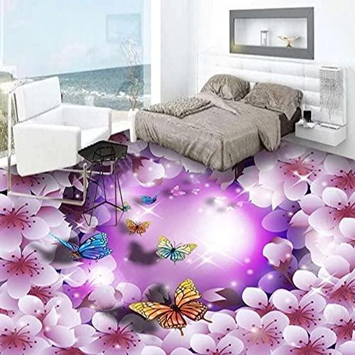 Azulejos de piso 3D Papel tapiz mural Moda moderna Flores púrpuras Mariposa Etiqueta de piso Sala de estar Dormitorio PVC Impermeable Frescoes-250x175cm