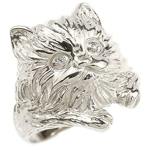 [アトラス]Atrus リング レディース pt900 プラチナ900 ダイヤモンド 猫 幅広 指輪 ピンキーリング 宝石 12号