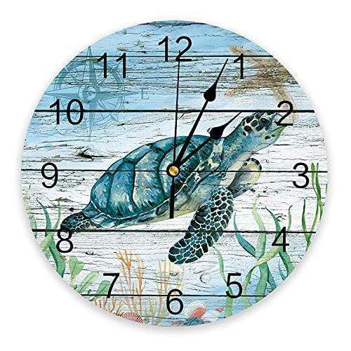 Reloj de pared redondo, silencioso, para colgar en la pared, náutico, tortuga marina, playa, coral, animal marino, brújula en tablón de madera, textura, relojes a pilas para cocina, dormitorio, sala d