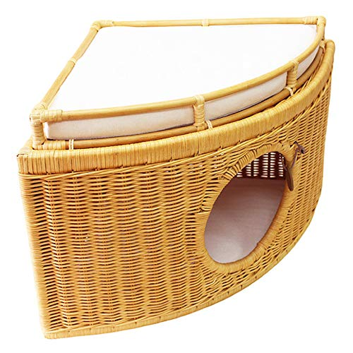 NBRTT Cat nest, Rattan cheese corner Cat bed, double layer Can be stacked cat house with cotton linen mat, Hand-woven cat nest, Suitable for multi-cat families